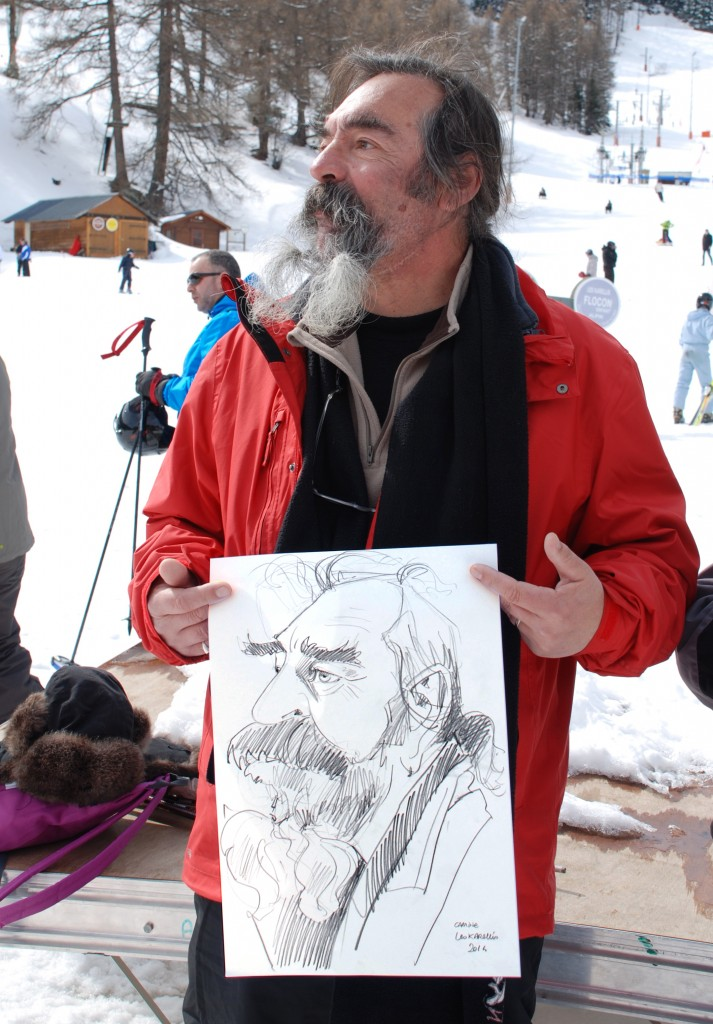 Caricature d'un homme barbu